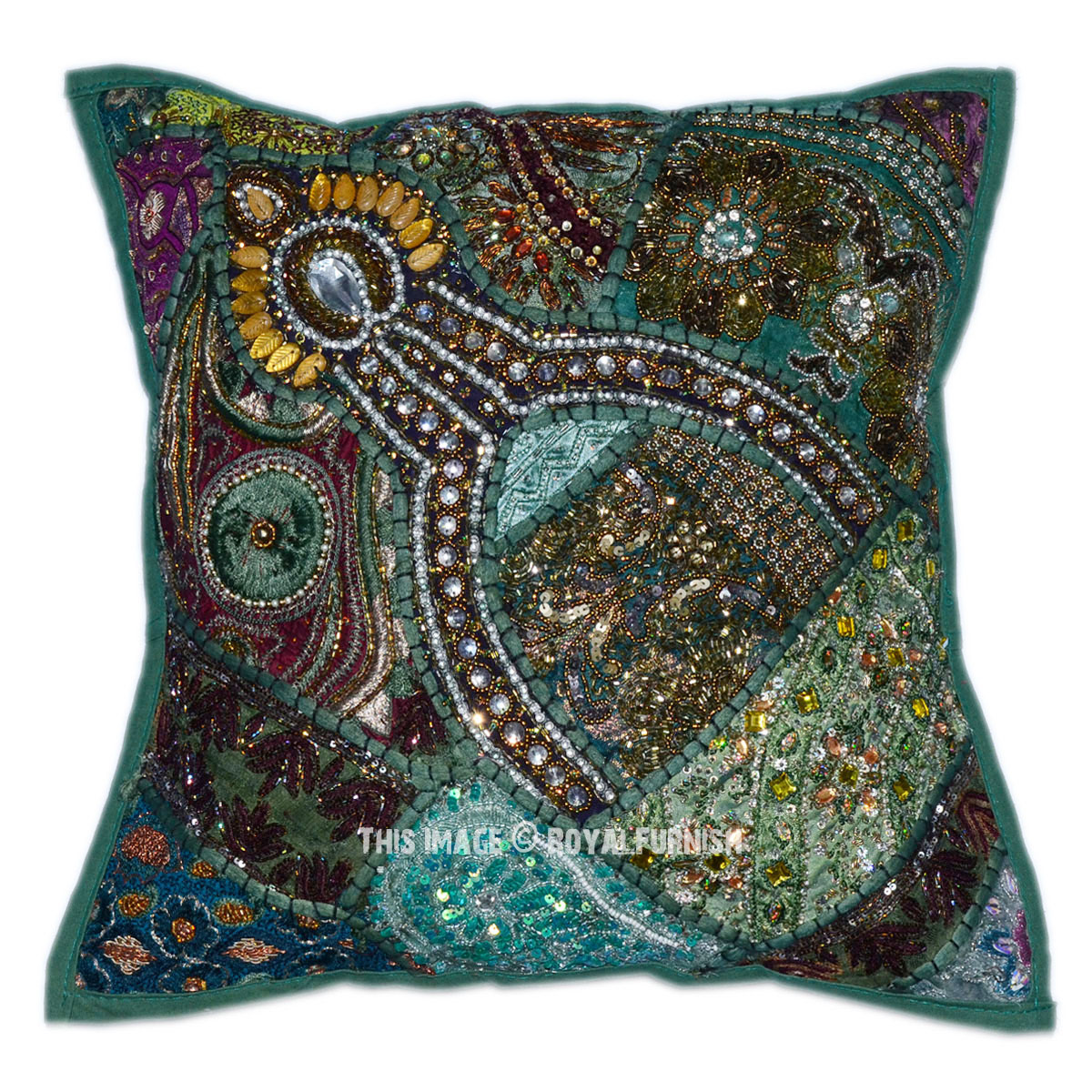 Best 16 X 16 Decorative Accent Vintage Beaded Indian Throw This Month