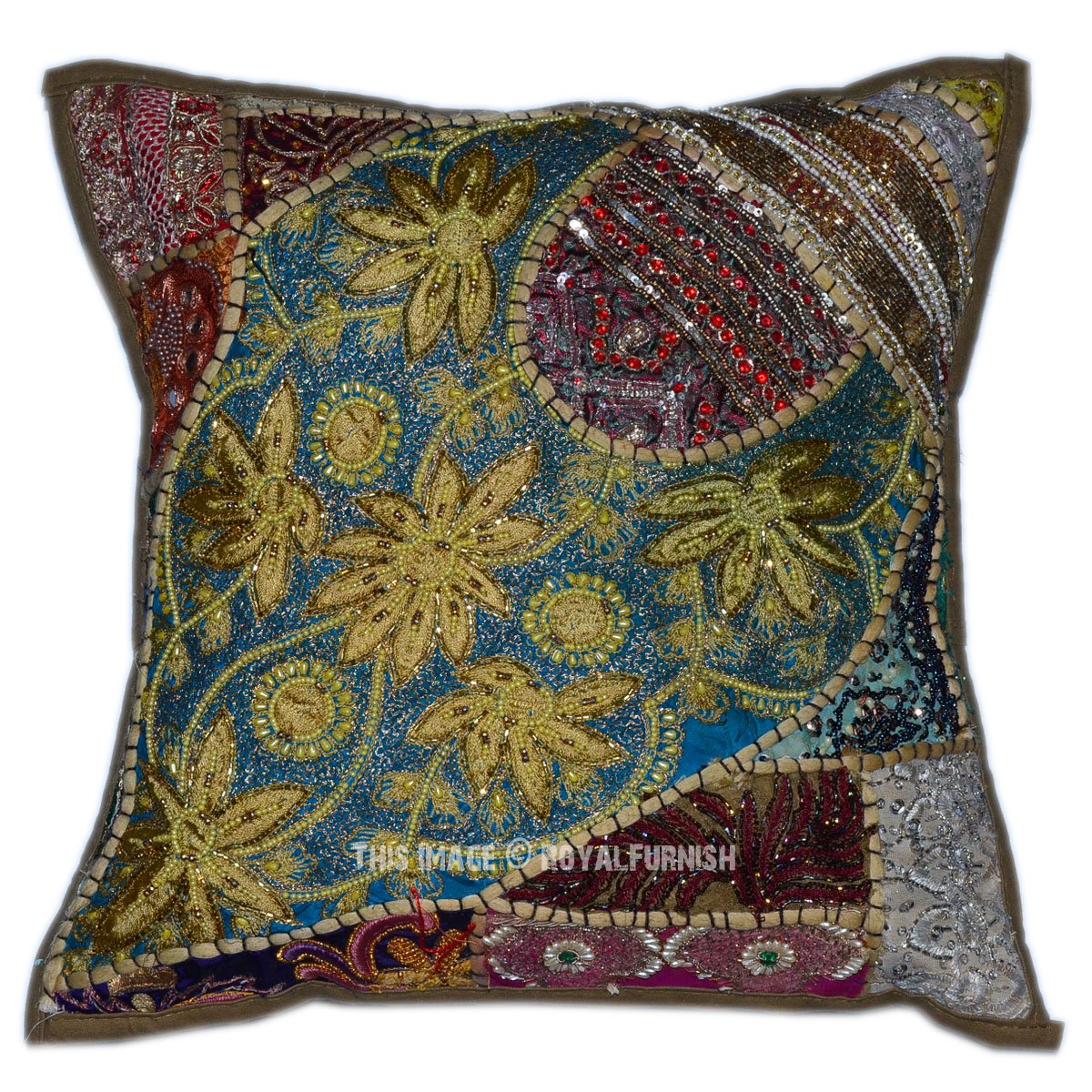 Best 40 X 40 Green Decorative Designer Patchwork Indian Beaded This Month