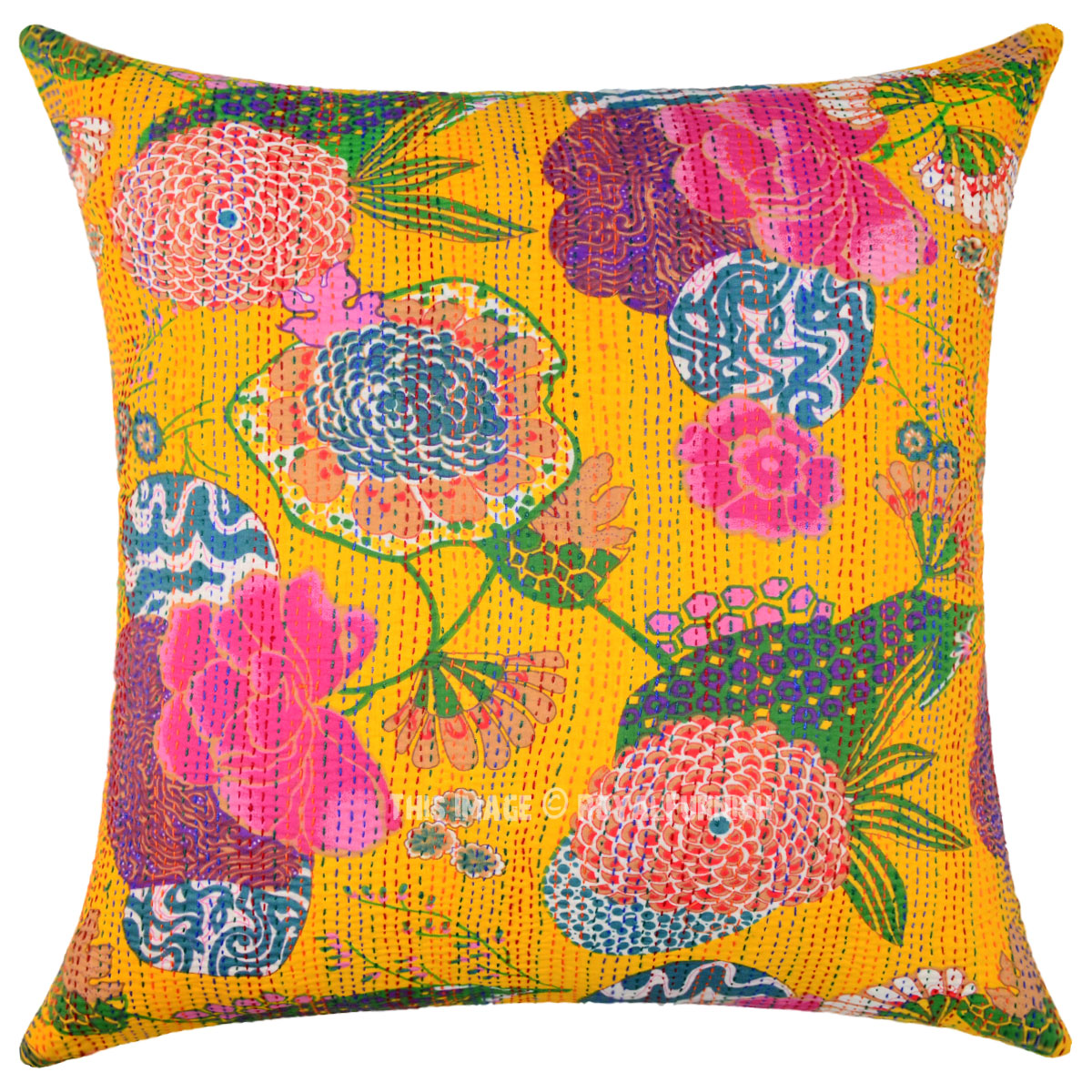 Best Yellow Decorative Tropical Kantha Square Throw Pillow This Month