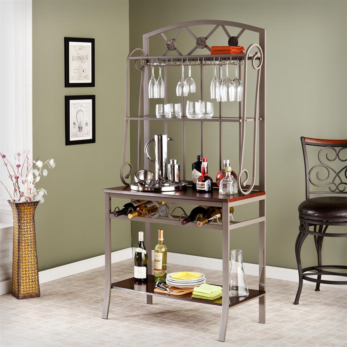 Best Decorative Bakers Rack With Wine Storage 579110 Kitchen This Month