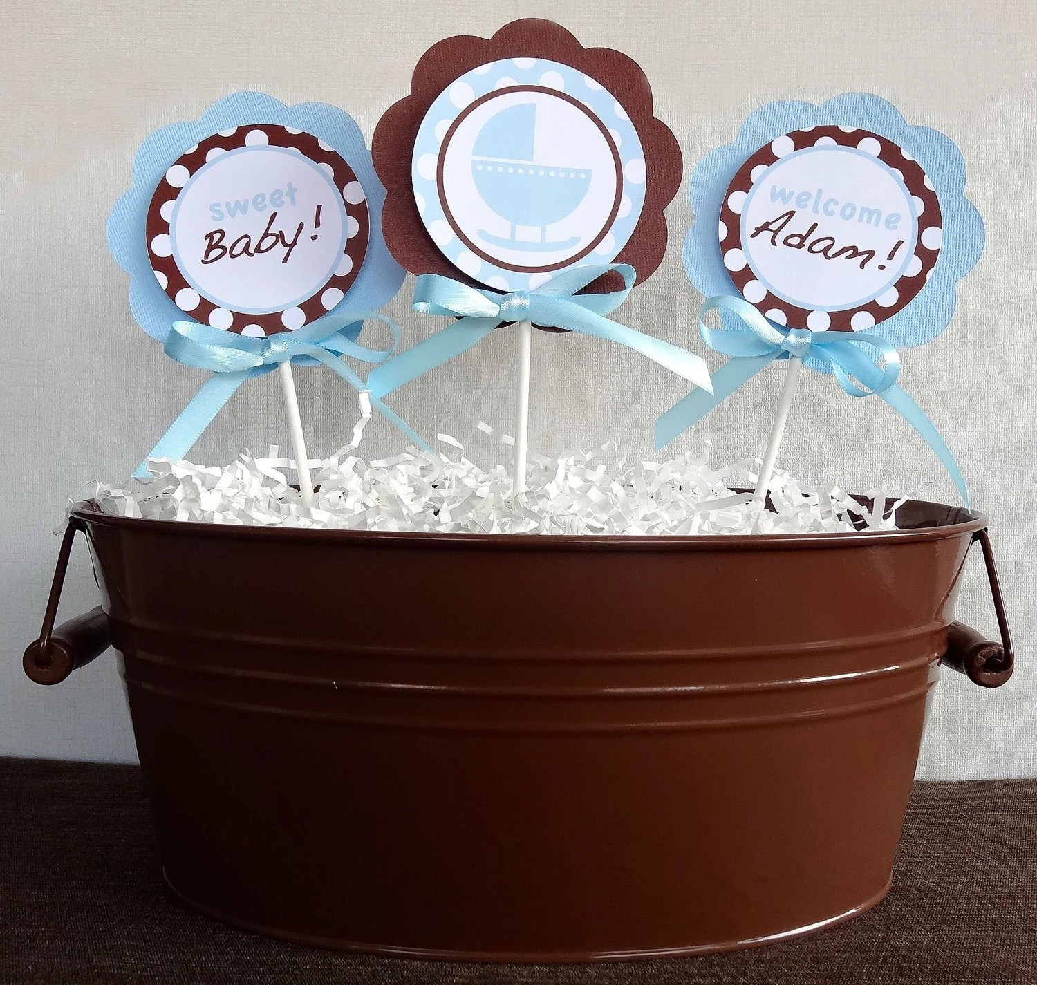 Best Items Similar To Blue And Brown Centerpiece Sticks Baby This Month