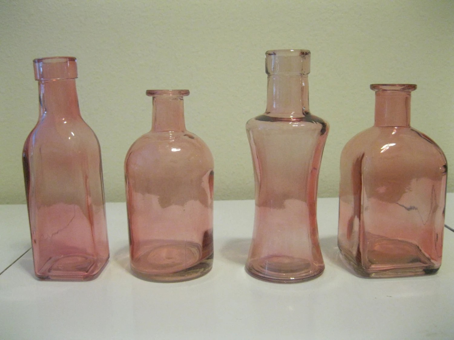 Best 4 Pink Decorative Colored Glass Bottles Floral By This Month