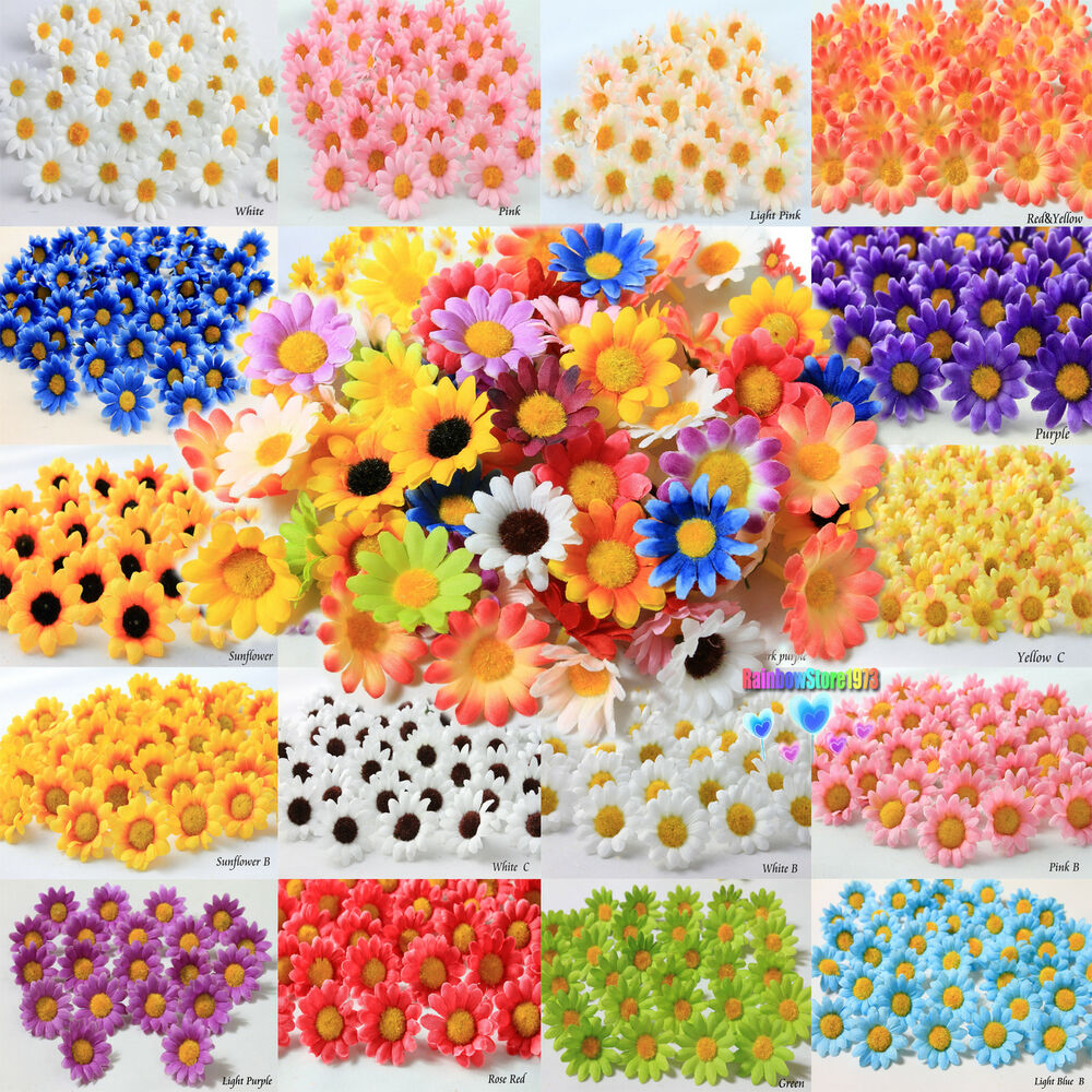 Best 100X 50X Daisy Artificial Silk Flower Heads Wholesale Lots This Month