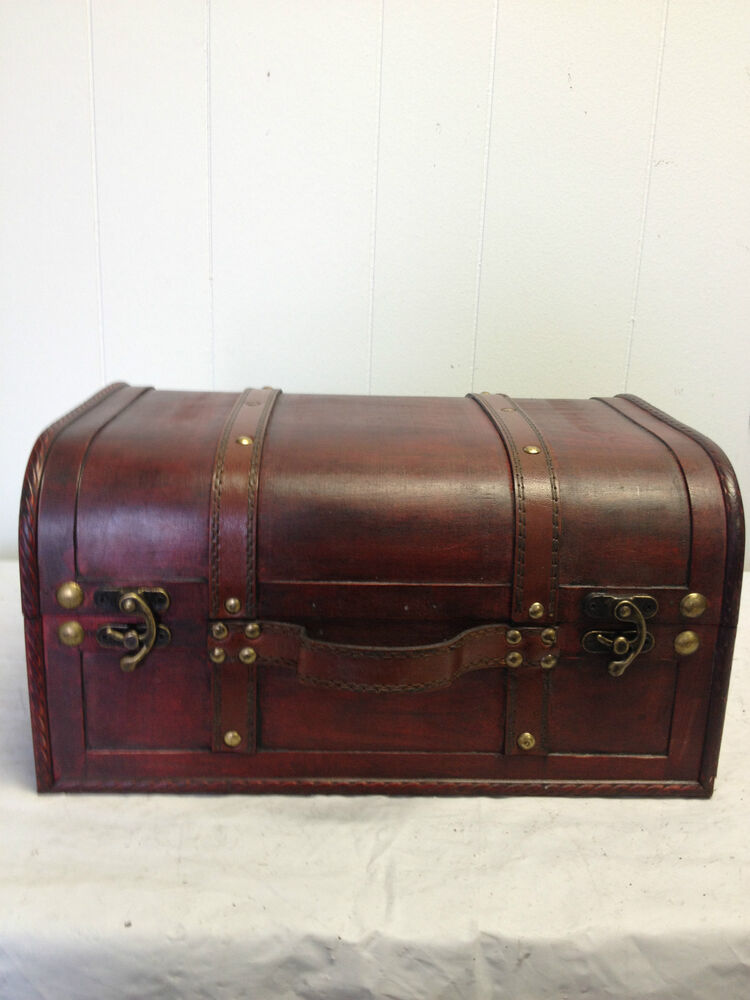 Best Faux Leather Decorative Wooden Storage Trunk Hf 008C 1 This Month