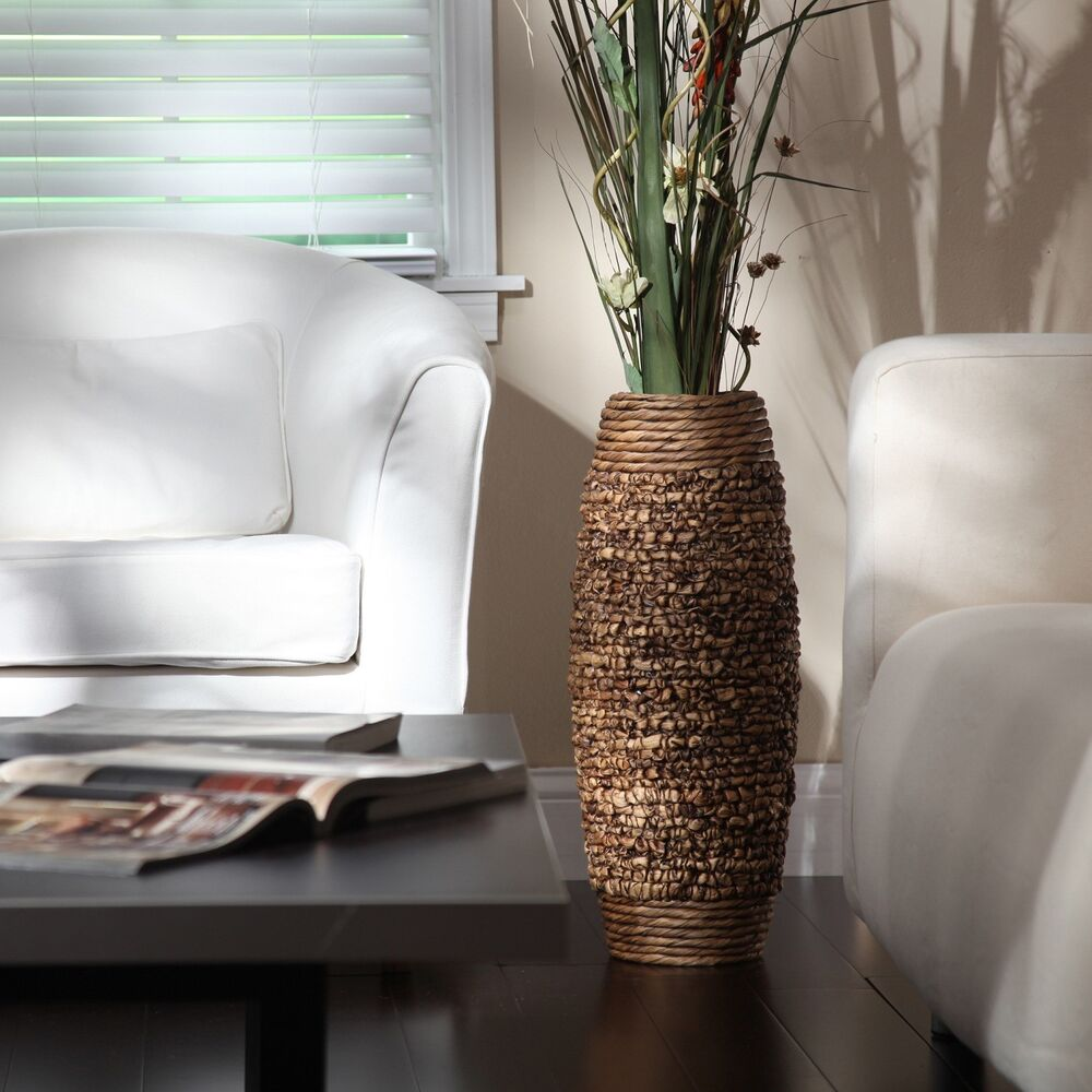 Best Tall Floor Vase 23 Big Brown Woven Hyacinth Decorative This Month