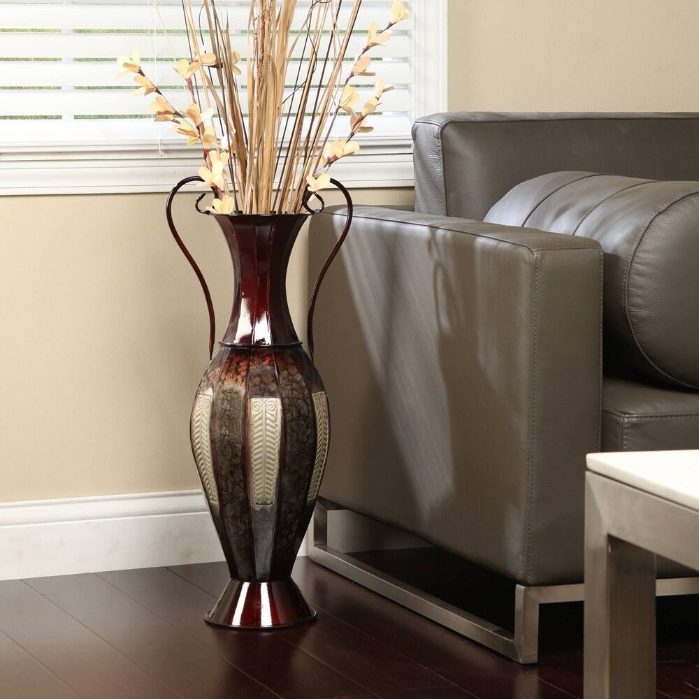 Best Tall 2 Tone Metal Floor Vase Decorative Display 26 Silver This Month