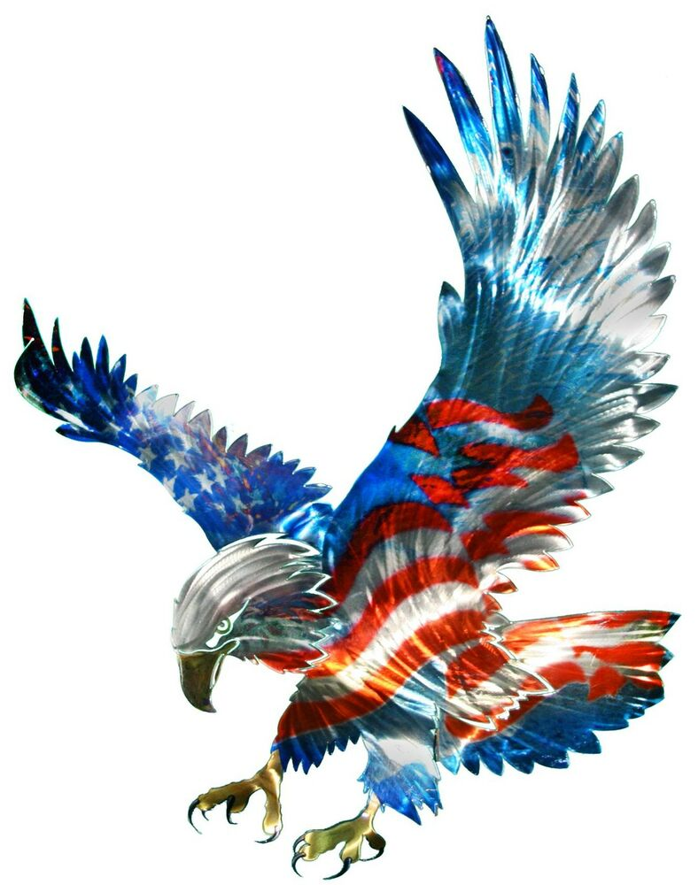Best New Large American Flag Bald Eagle Metal Wall Art This Month