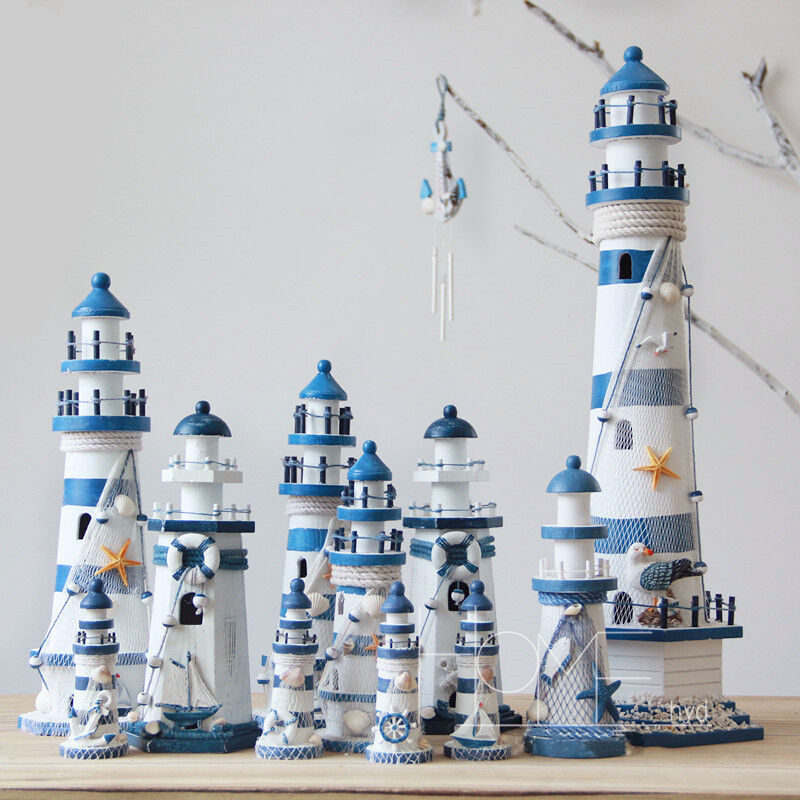 Best Blue Mediterranean Wooden Nautical Lighthouse Tower This Month