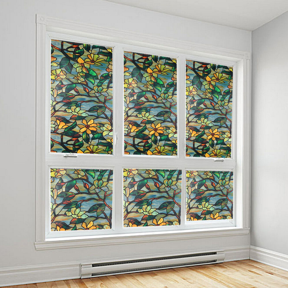 Best Static Cling Cover Stained Flower Window Film Glass This Month