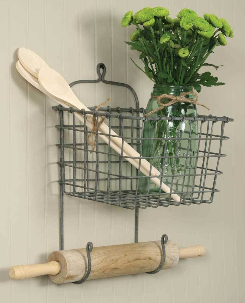 Best New Wire Country Vintage Hanging Wall Basket Storage This Month