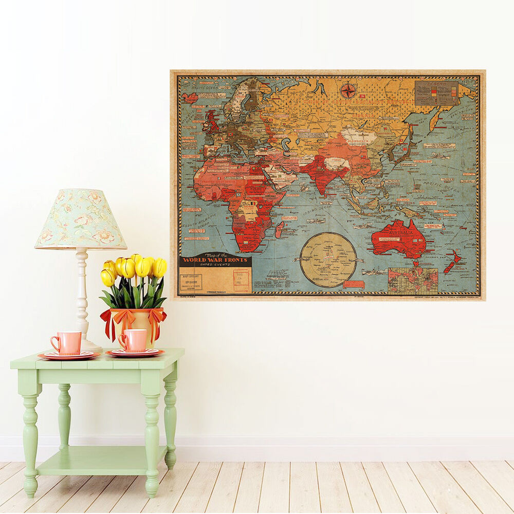 Best Vintage Map Of The World Wall Poster Decor Poster Antique This Month