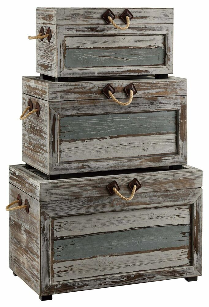 Best Rich Set Of Three Rustic Wood Metal Storage Trunks Beach This Month