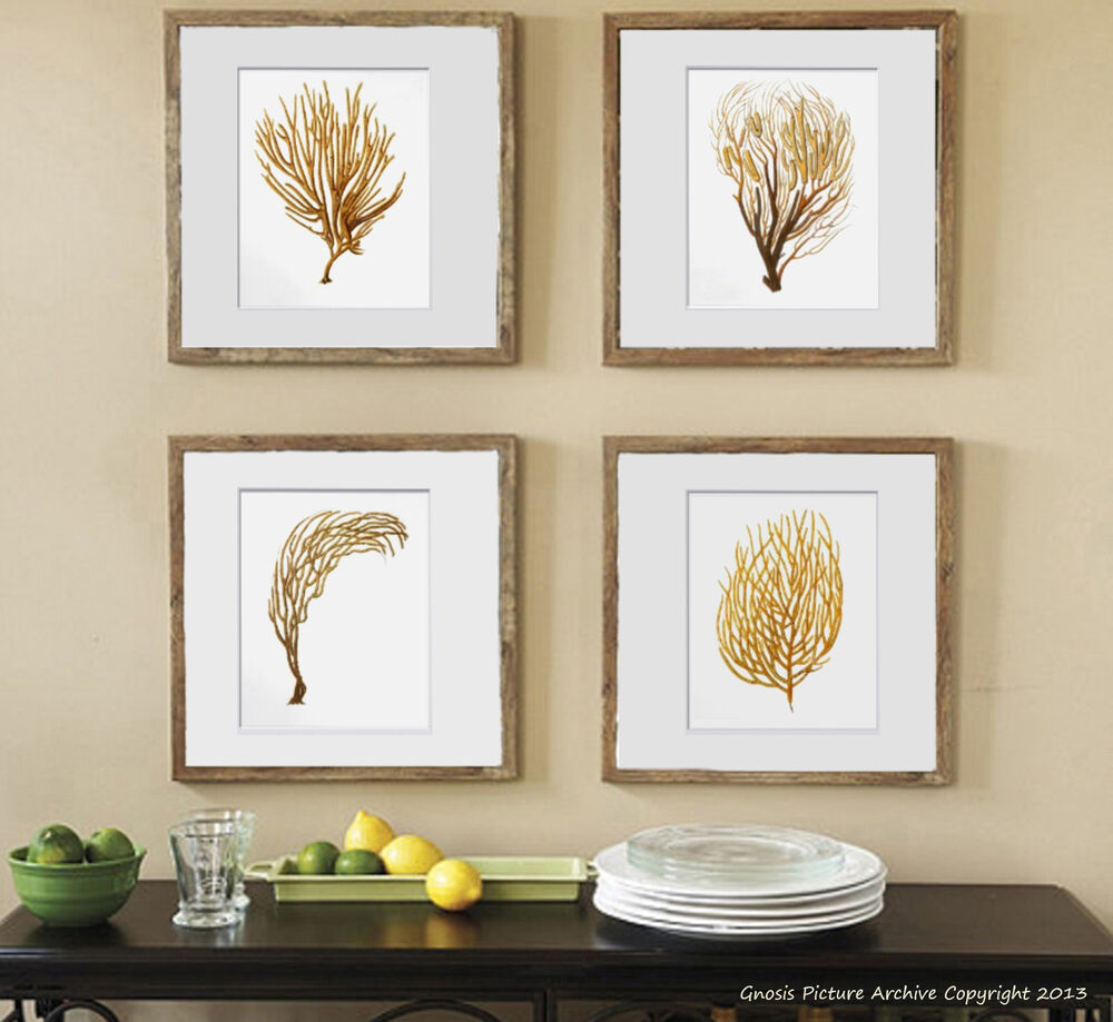 Best Beach Decor Wall Art Set Of 4 Unframed Sea Coral Prints This Month