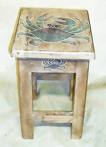 Best Tables Blue Crab Wooden Side Table Nautical Decor This Month