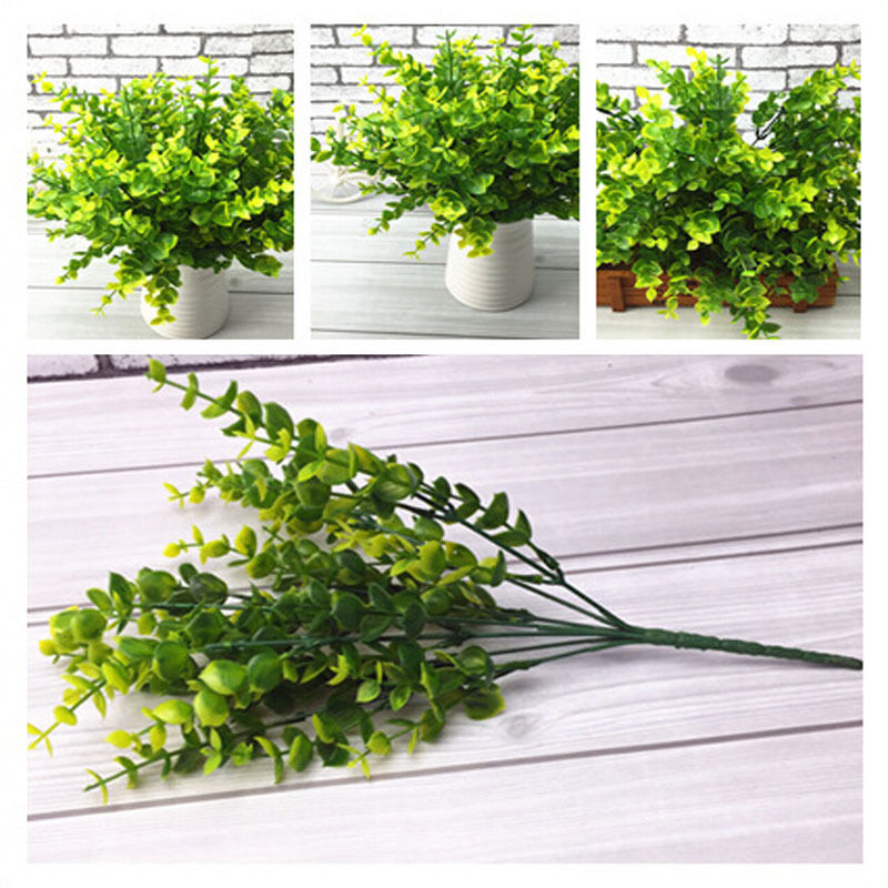 Best Green Artificial Plastic Small Leaves Plants 7 Branches This Month