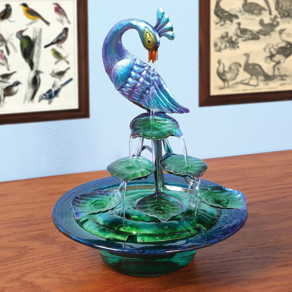 Best Decorative Glass And Metal Indoor Water Fountain Peacock This Month