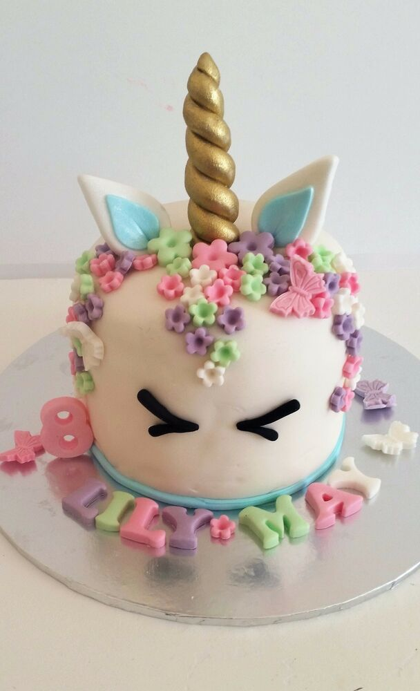 Best Edible Unicorn Horn Ears Eyes Name Age 80 Flowers Cake This Month