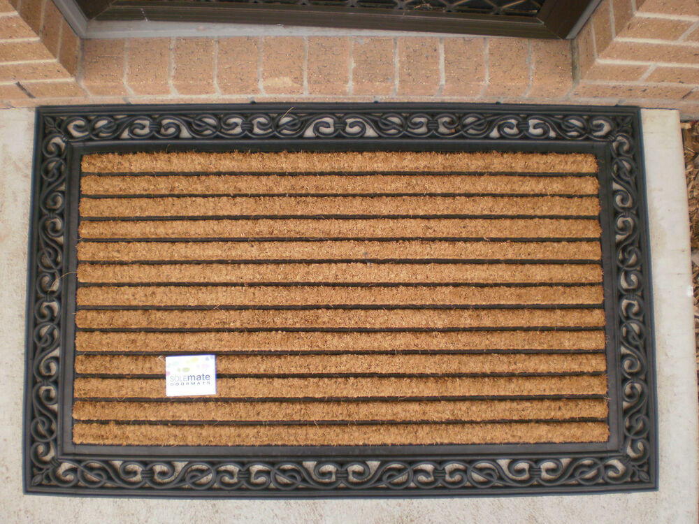 Best Decorative Ribbed Large Natural Coir Rubber Edged Door This Month