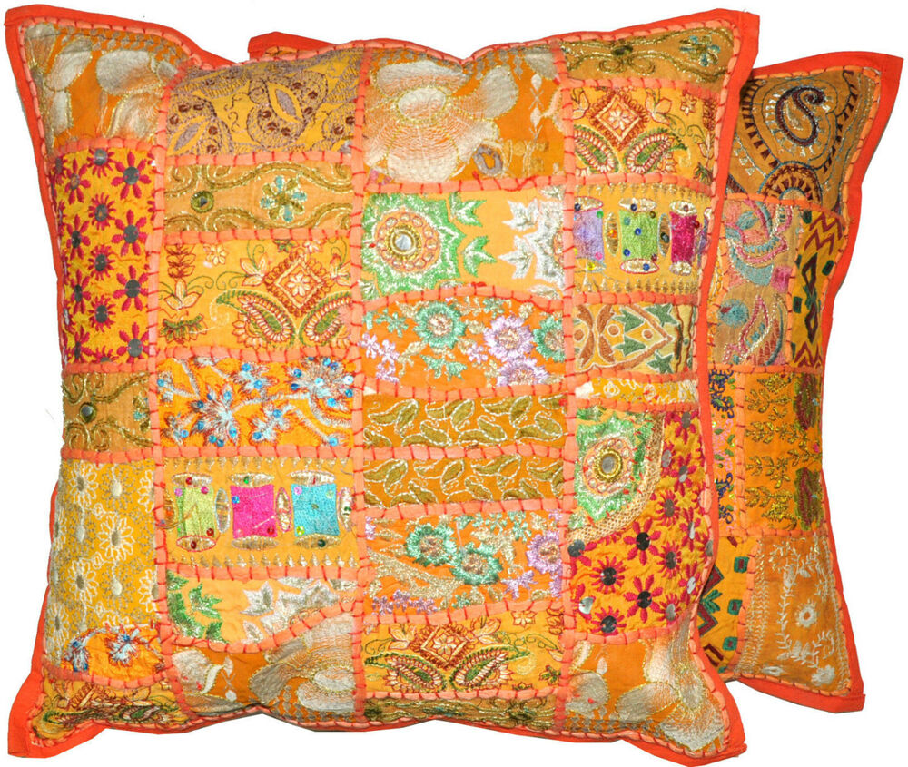 Best 2Pc Orange Decorative Throw Pillow Cover Large Cushion This Month