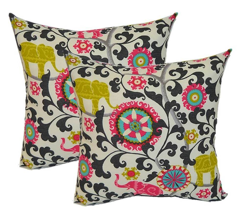 Best Set Of 2 20 Boho Elephant Outdoor Decorative Throw This Month