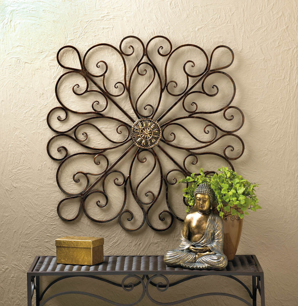 """Best Wrought Iron Scrollwork Wall Decor 36"""" Tall New 10016153 This Month"""