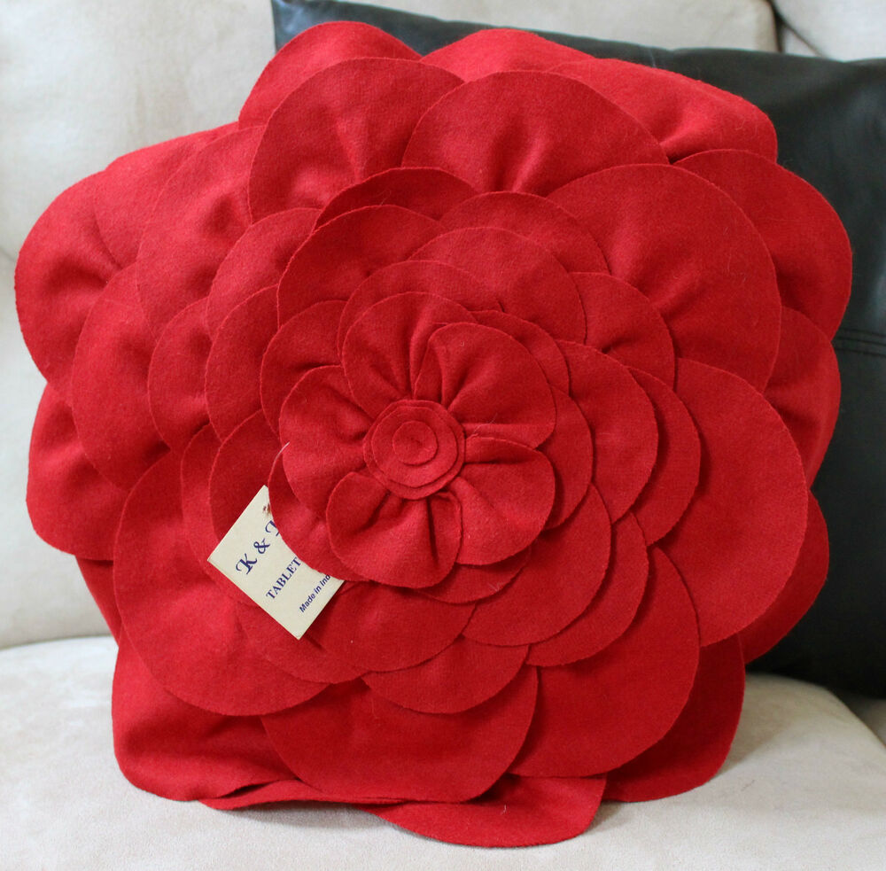 Best Red Flower Pillow Cover Case Bed Accent Decorative This Month