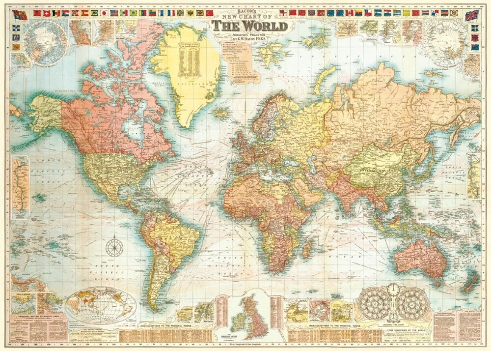 Best World Map Bacon S Circa 1907 Historical Replica Home This Month