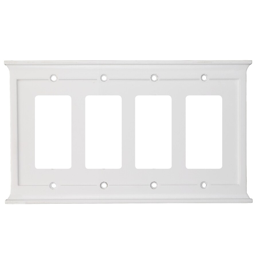 Best Shop Allen Roth 4 Gang White Decorator Wall Plate At This Month