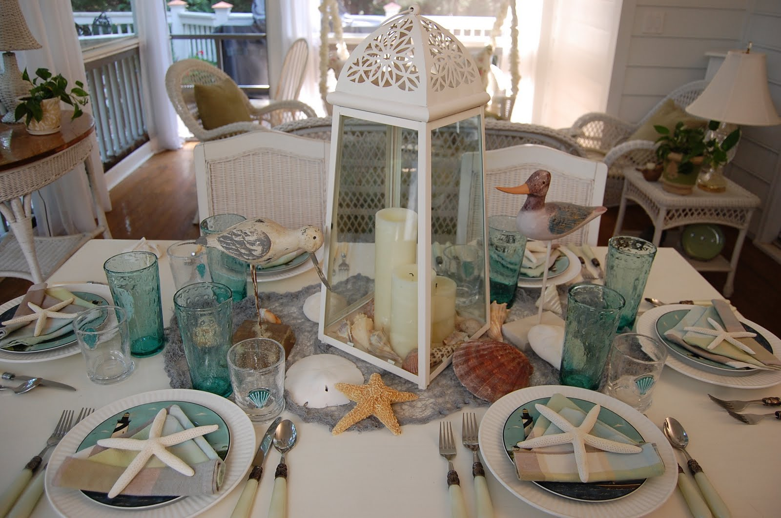 Best Beach Themed Table Setting With Sailboat Napkin Fold And This Month