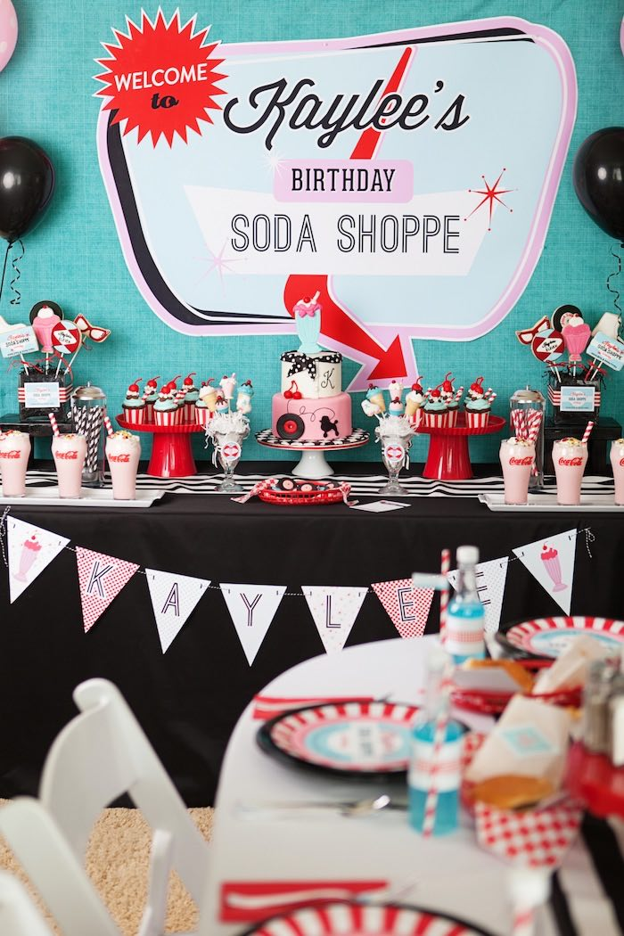 Best Kara S Party Ideas Retro Soda Shoppe Birthday Party Kara This Month