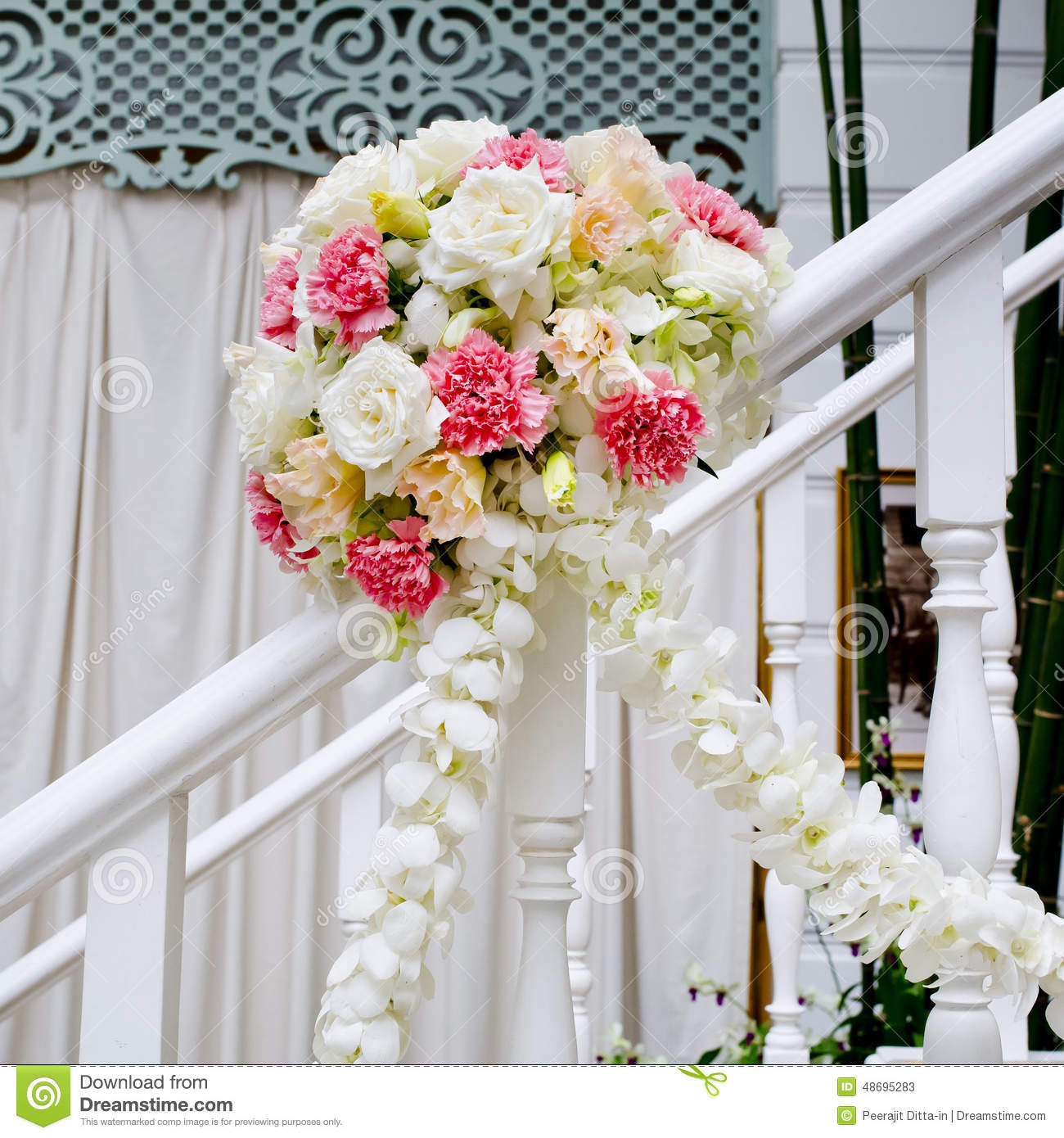 Best Beautiful Wedding Flower Decoration At Stairs Stock Photo This Month