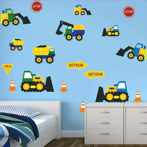 Best Construction Themed Wall Decals Wall Decals For Boys Room This Month