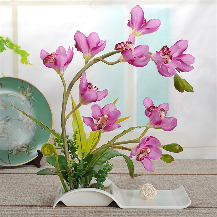 Best Decorative Flowers Artificial Bonsai With Ceramic Dish For This Month