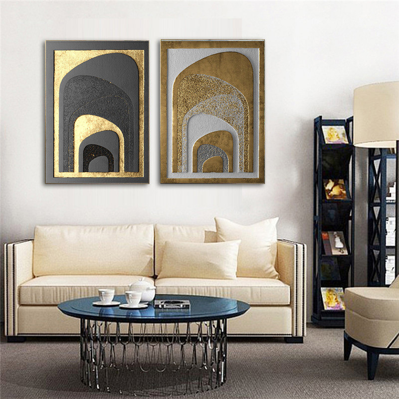 Best Gold Luxury Abstract Vintage Nordic Home Wall Art Decor This Month