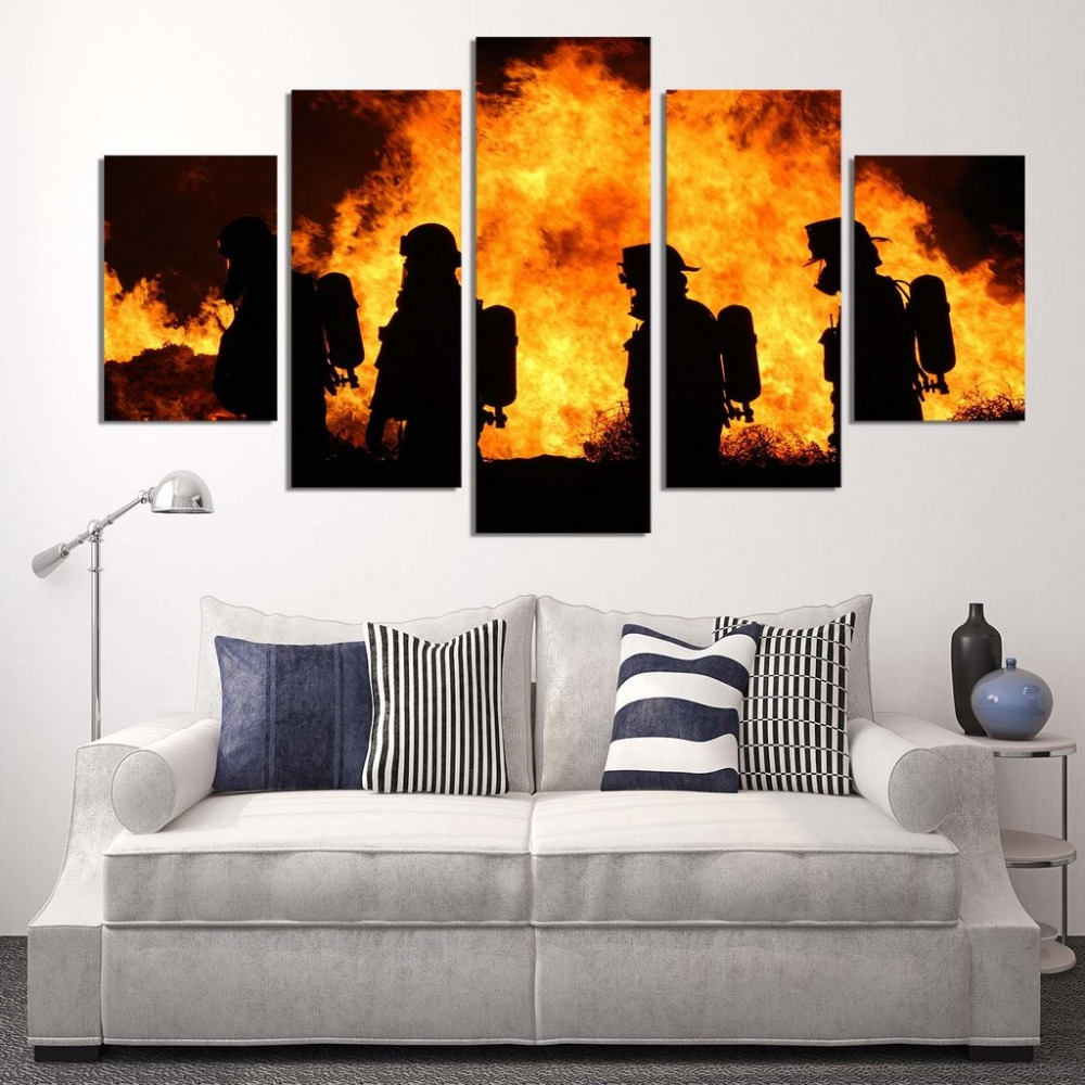 Best 5 Panels Canvas Prints Firefighter Our Hero Canvas This Month