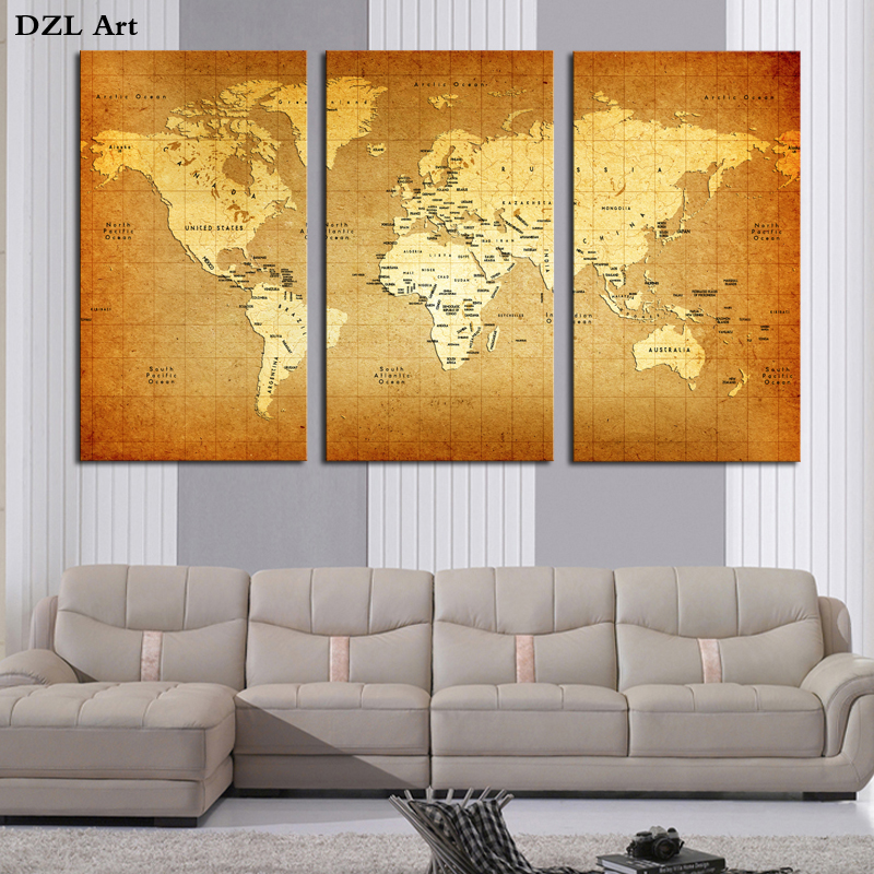 Best Drop Shipping World Map Wall Art Paintings Picture Paiting This Month