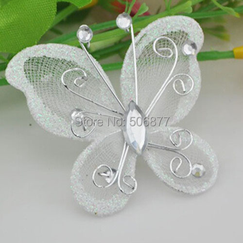 Best Hot Sale New 5Cm 50Pcs White Organza Wire Rhinestone This Month