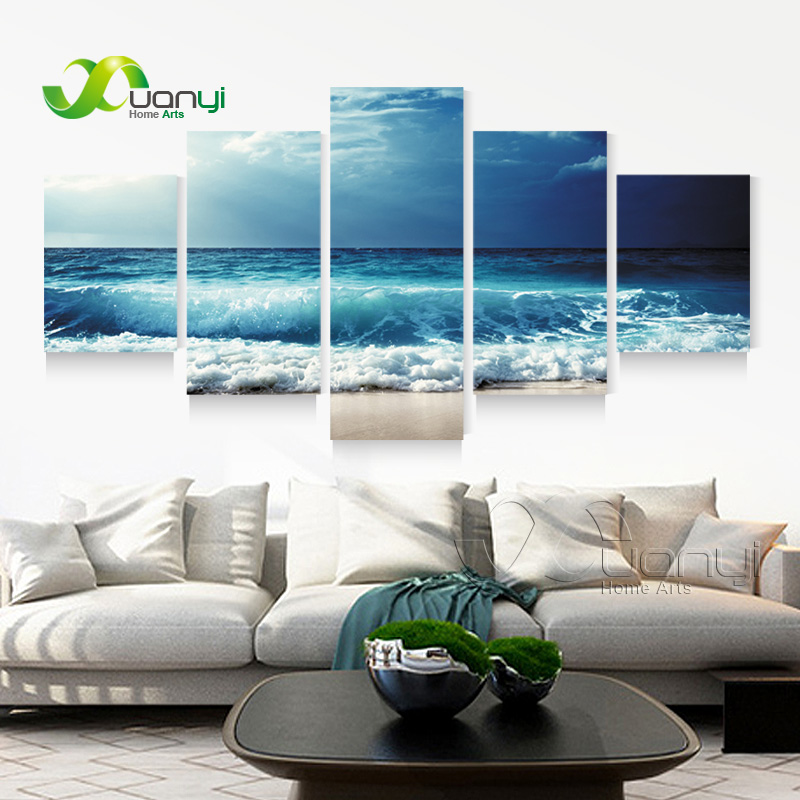 Best 5 Panel Ocean Sea Wave Seascape Canvas Oil Painting Beach This Month