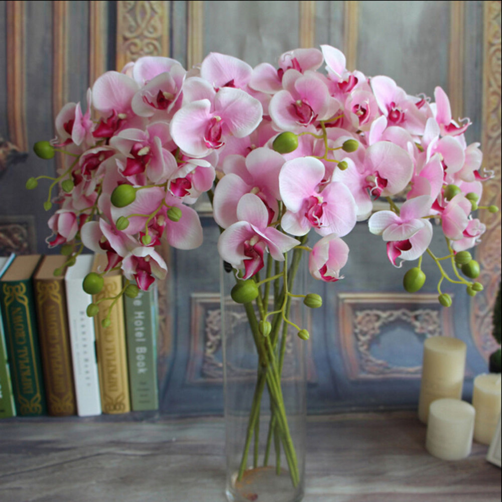 Best 1Pc Fake Phalaenopsis Artificial Orchid Flower 6 Colors This Month