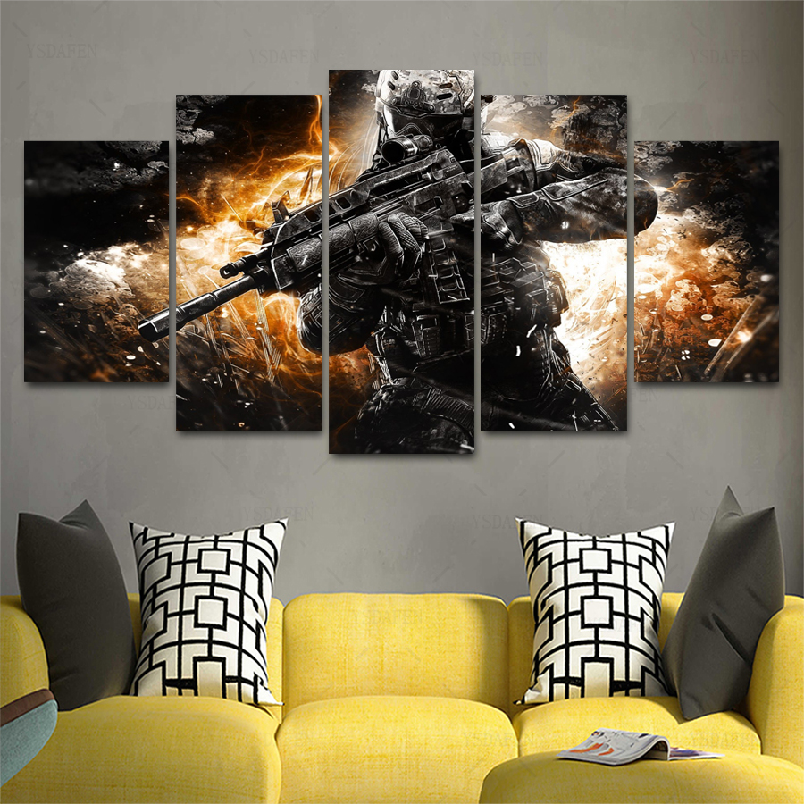 Best Drop Shipping Hd 5 Panel Canvas Art Game Shooting Painting This Month