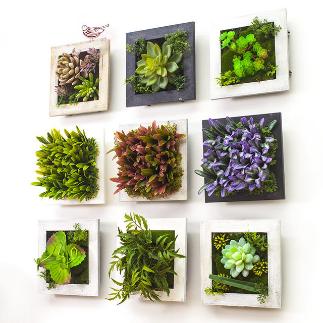 Best 2017 3D Creative Metope Succulent Plants Imitation Wood This Month