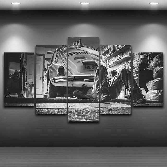 Best Framed 5 Panel Automotive Repair Painting Modern Home This Month