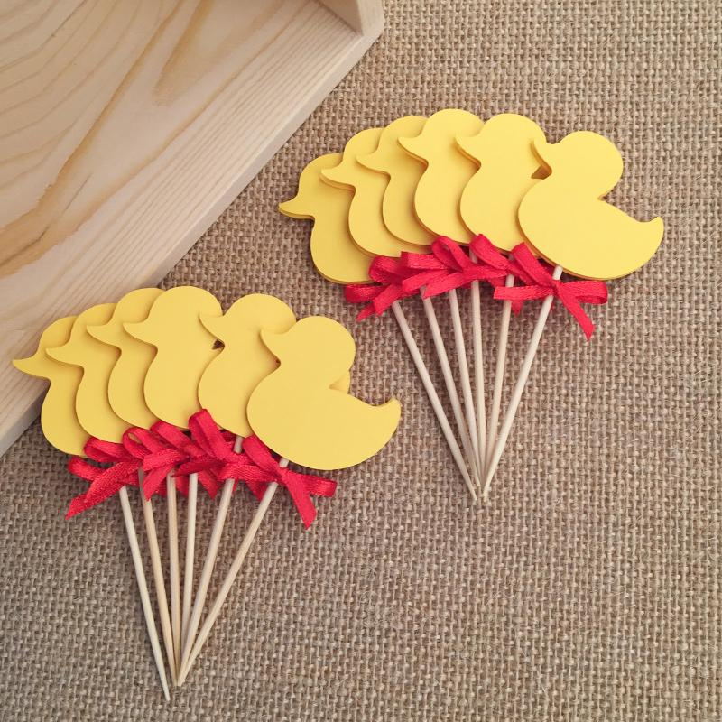 Best Double Sided Yellow Duck Cupcake Toppers Picks Baby This Month