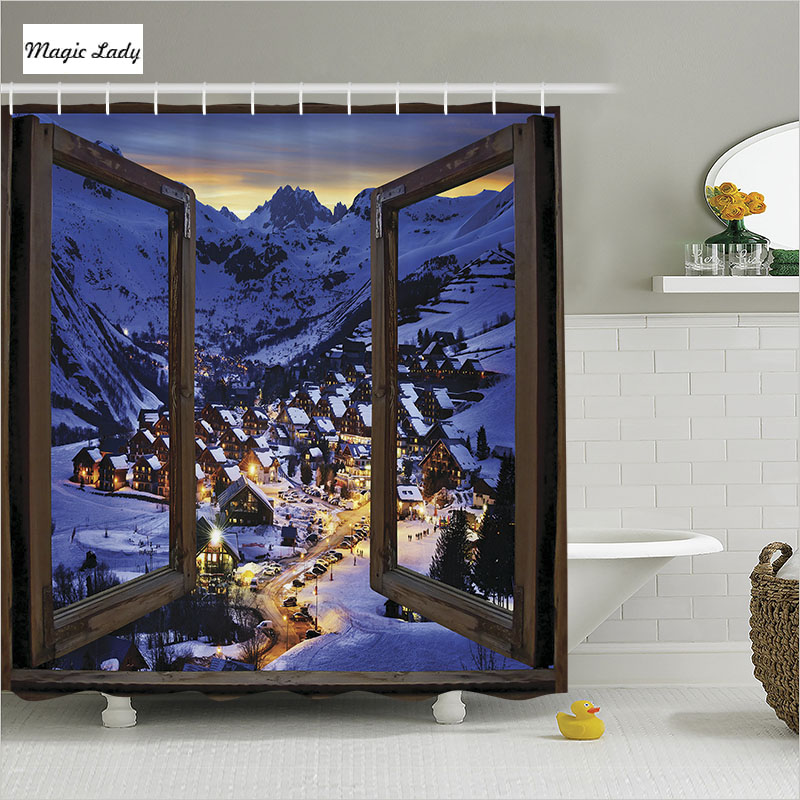 Best Shower Curtain Mountains Bathroom Accessories Wooden This Month