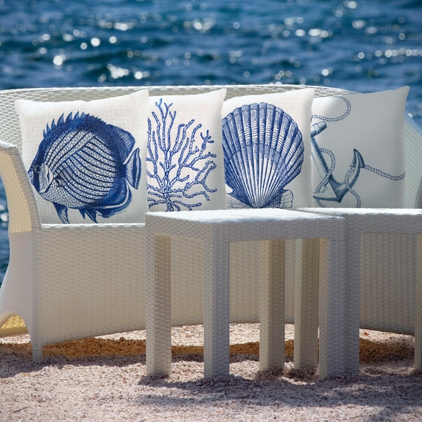 Best Shop Blue Sea Print Indoor Outdoor Decorative Throw Pillow This Month