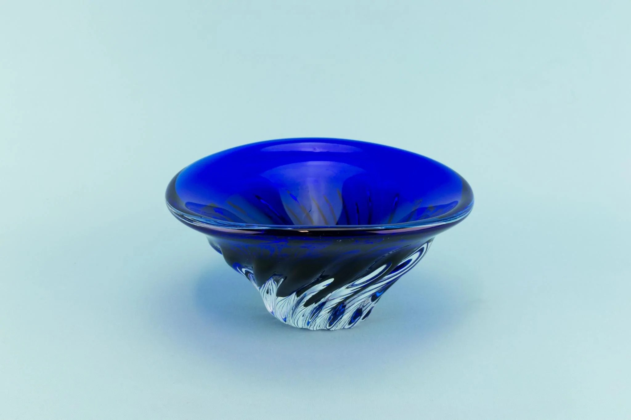 Best Blue Glass Decorative Swirl Bowl Late 20Th Century This Month