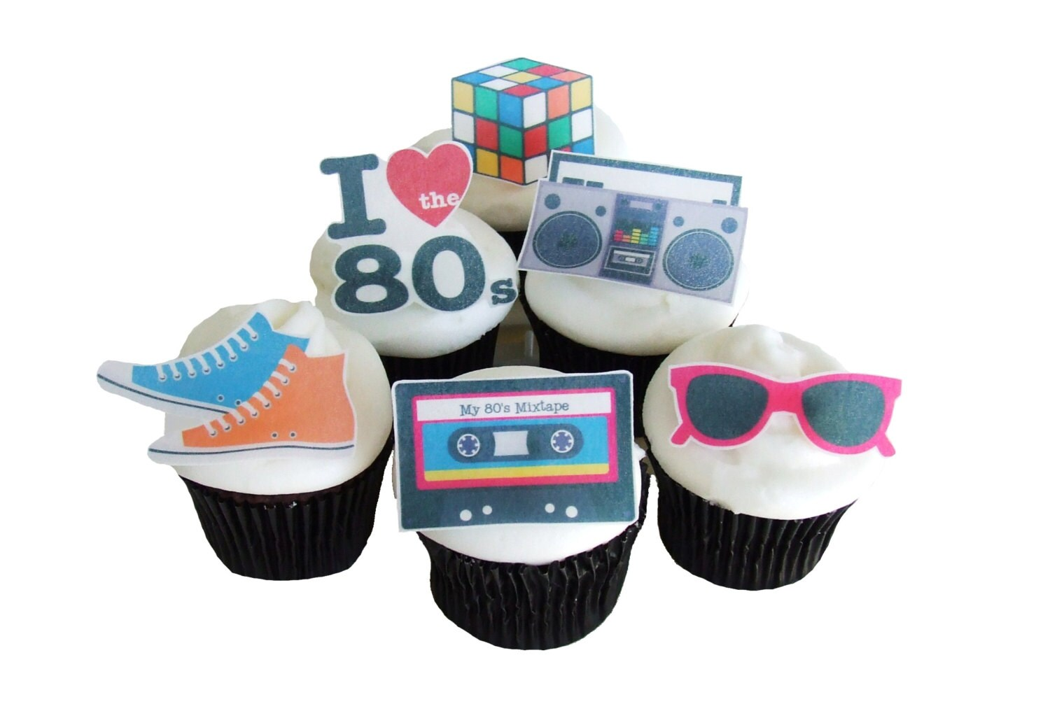 Best 80S Theme Party 12 Edible Cupcake Toppers Birthday This Month