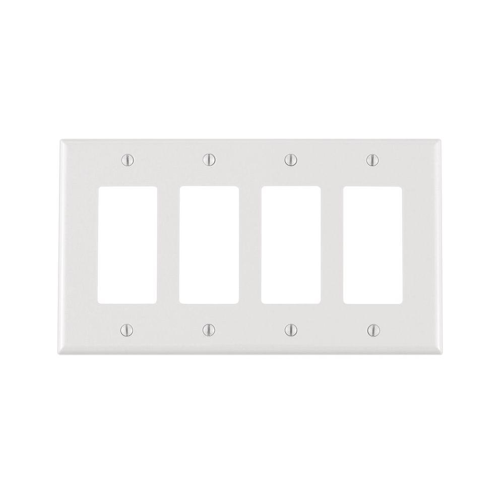 Best Leviton Decora 4 Gang Midway Nylon Wall Plate White R52 This Month