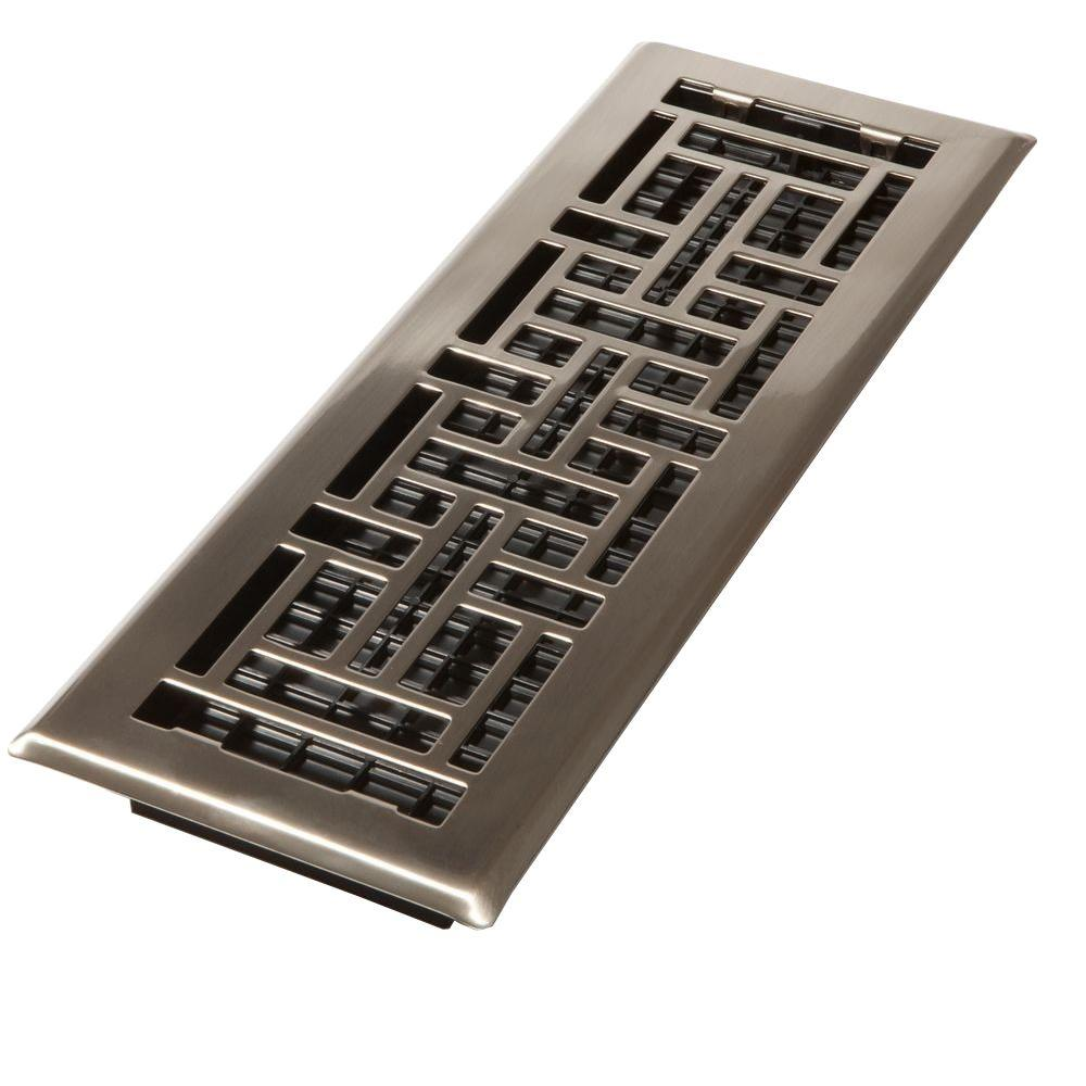 Best Decor Grates 4 In X 10 In Steel Brushed Nickel Oriental Design Floor Register Ajh410 Nkl The This Month
