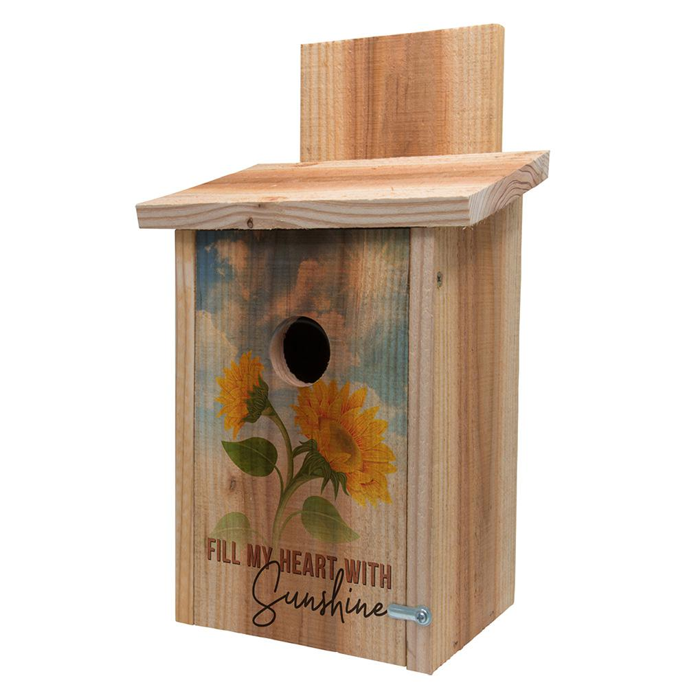 Best S And K Decorative Sunflower Design Cedar Blue Bird House This Month